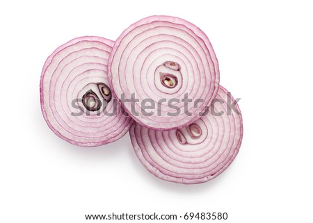 the sliced red onion - stock photo