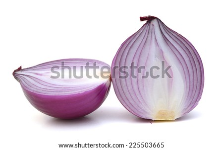 the sliced red onion on white background  - stock photo