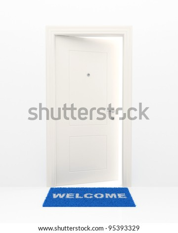 The slightly opened white door and blue rug with an inscription: Welcome. - stock photo