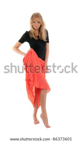 The slim blonde in a red skirt, isolated