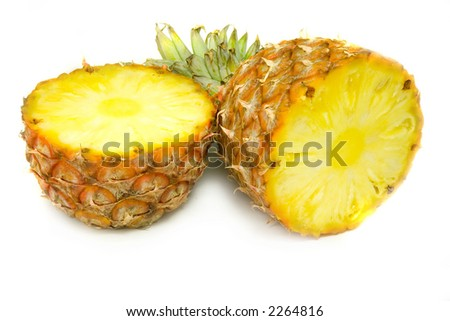 the slit pineapple isolated on white background - stock photo