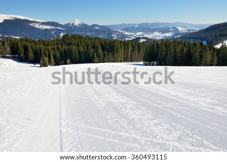 The slope of Bukovel ski resort, Ukraine - stock photo