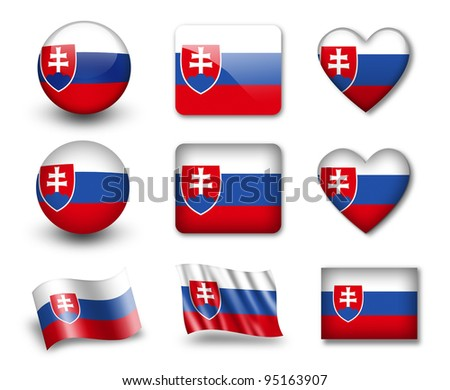 The Slovakia flag - set of icons and flags. glossy and matte on a white background. - stock photo