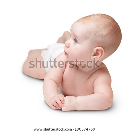 the small beautiful caucasian child lies on one side and looking aside. isolated on white - stock photo