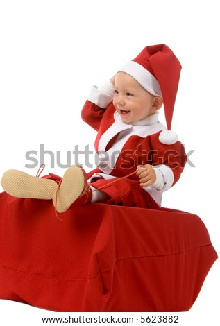 the small boy in christmas dress on white background