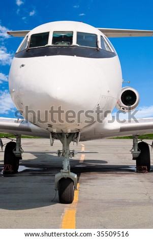 The small business jet. Front View - stock photo