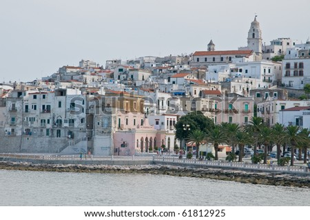 the small city vieste in itlay, gargano, apulia - stock photo