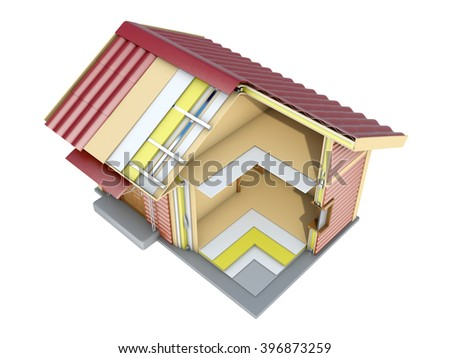 The small frame house in section. A good illustration for indoor and outdoor advertising. 3d illustration