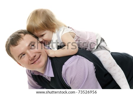 The small  girl has bent to the man - stock photo