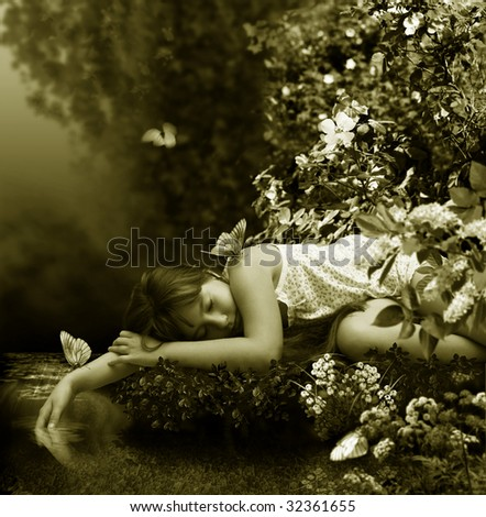 The Small girl sleeps beside creek in warm night by summer. - stock photo