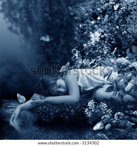 The Small girl sleeps on coast creek.  The Creek opens in timber haze. The photography is made in studio. After processing in editor. All detail on photo take from the personal archive - stock photo