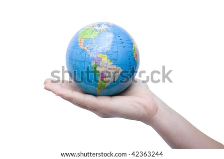 The small globe in hands at the girl on white background