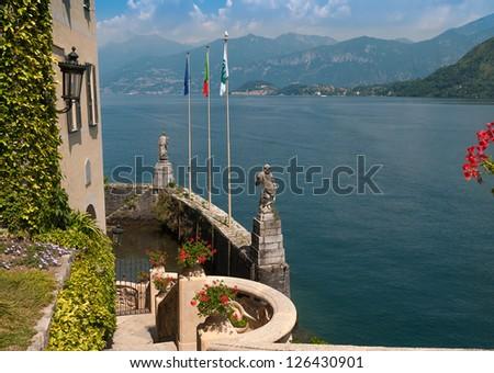 The small private harbor of Villa Del Balbianello - stock photo