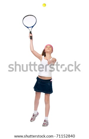 The small tennis-player. 10 years old. - stock photo