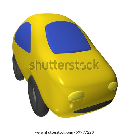 The small toy car 3d, it is isolated - stock photo