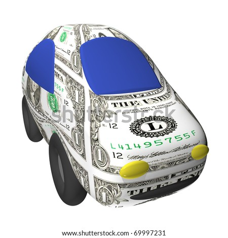 The small toy dollar car 3d, it is isolated - stock photo