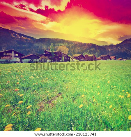 The Small Village High Up in the Swiss Alps, Sunset, Instagram Effect - stock photo