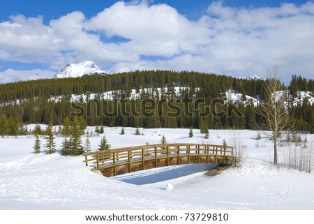 The small wooden bridge through Cascade ponds in reserve Banff in Canada - stock photo
