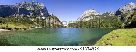 The smaller Lake Gosausee and the Dachstein mountain range