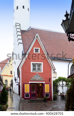 The smallest house, the house of the priest, in the medieval Old city. Tallinn. Estonia. - stock photo