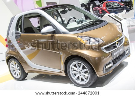 The 2015 Smart car electric drive at The North American International Auto Show January 13, 2015 in Detroit, Michigan. - stock photo