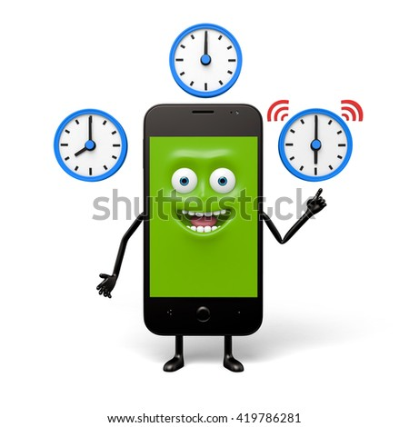 The smartphone can show different time zones - stock photo