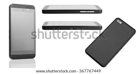 The smartphone of black color of a business class on a white background, a set from several foreshortenings. - stock photo