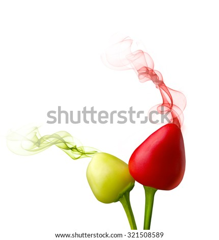 the smell coming from the pepper fruit on the white background - stock photo