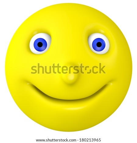 The smilie smiles. On the isolated background - stock photo