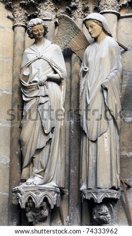 The smiling angel of Reims gothic cathedral, France - stock photo