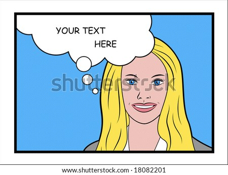 The smiling blue-eyed blond business woman with talk bubble - stock photo