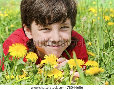 The smiling boy lies on a lawn in flowers - stock photo
