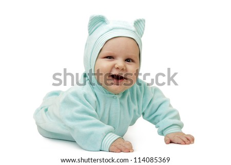 The smiling child in suit of cat on white background - stock photo