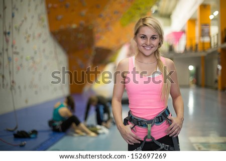 The smiling girl with climbing equipment on the climbing gym - stock photo