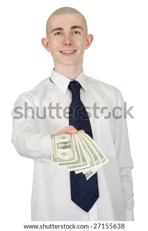 The smiling man in a white shirt with money in a hand - stock photo