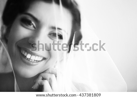 The smilling bride - stock photo