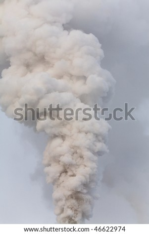 The smoke from the chimney power plant winter day - stock photo
