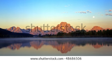 The Snake River and Mt. Moran, at sunrise, in Grand Teton National Park, Wyoming. - stock photo