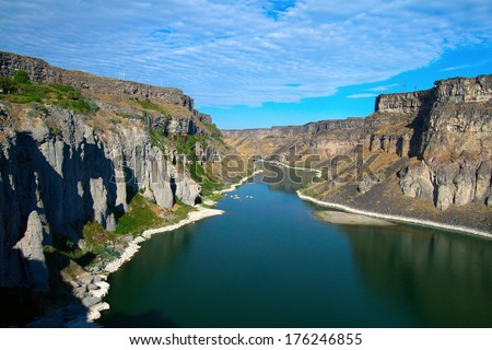 The Snake River as it flows just east of Twin Falls, Idaho - stock photo