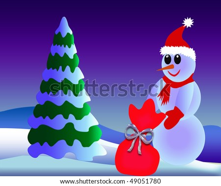 The Snow-clad fir tree cost(stand)s near by snowman with gift.