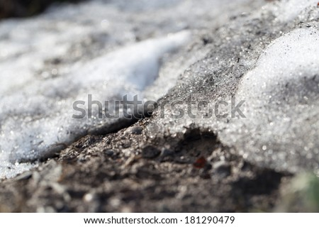 the snow melts on the ground - stock photo