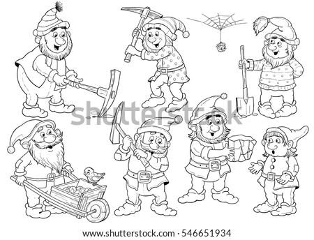 Snow white seven dwarfs fairy tale stock illustration for Seven dwarfs coloring pages