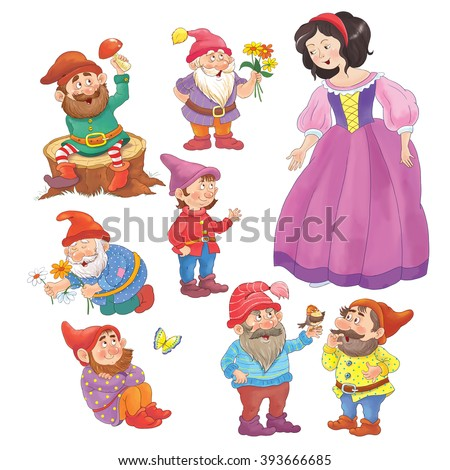 The Snow White and seven dwarfs. Fairy tale. Cute seven dwarfs and beautiful princess standing separately, isolated on white background. Illustration for children. Coloring book. Coloring pages.