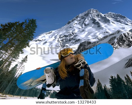 the snowboard extreme girl photo - stock photo