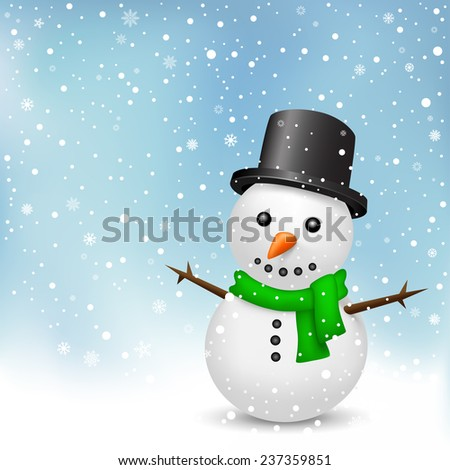 The snowman with green scarf and black hat on the snowfall background - stock photo