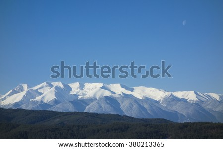 The snowy peaks of Pirin National Park, Bulgaria. - stock photo