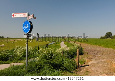 The so-called Raken in Groningen, Holland, a typical Dutch landscape - stock photo
