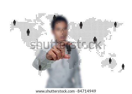 The social networks of business people. - stock photo