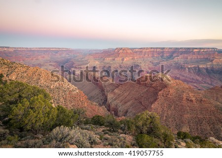 The soft light before sunrise exposing the various colors of the Grand Canyon, Arizona USA - stock photo