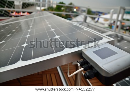 the solar cell and meter in cloudy day - stock photo